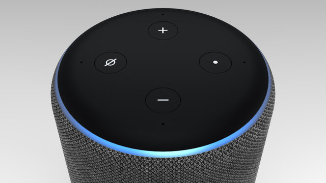 3D Rendering of Amazon Alexa Echo Plus 2nd generation on light backround.