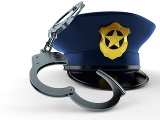 Police hat with handcuffs