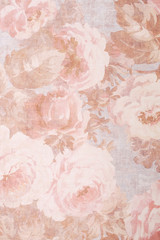 Texture, background, pattern. Fabric silk exquisite colors with peonies. Cabbage Rose Floral Decorator Fabric -Peonies Roses Morning Glories- Pink, Old Rose, print on fabric background