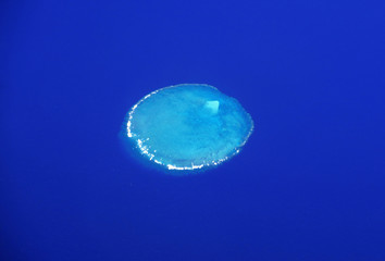 A coral reef can be seen from above on the Great Barrier Reef, located off the coast of Queensland, near the town of Rockhampton