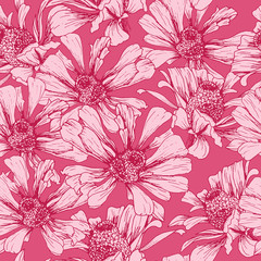 Romantic Pink Seamless Pattern for Valentines Day Holiday Wrapping Paper Design. Vector Feminine Floral Wallpaper Template with Helenium Autumnale Flower