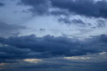 The sky with gray storm clouds