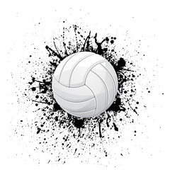 Volleyball white grunge symbol