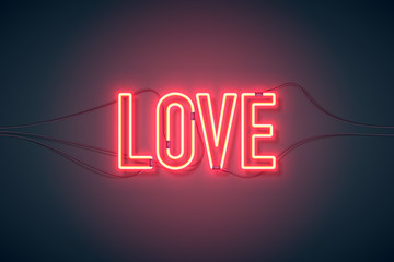 Bright heart. Neon sign. Retro neon Love sign on purple background. Design element for Happy Valentine's Day. Ready for your design, greeting card, banner. Vector illustration.
