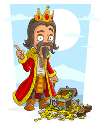 Cartoon bearded king with crown and treasure chest