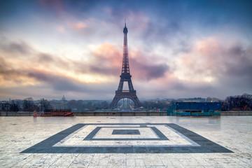 Fotomurales - Place du Trocadero und Eiffelturm in Paris, Frankreich