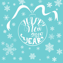 happy new year stylish inscription on a blue background with white snowflakes