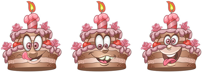 Cake. Food Emoji Emoticon collection