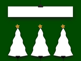 Four blank Christmas frames on green background