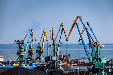 Industrial sea port with many cranes view