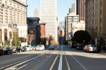 urban concept - blurred cityscape of san francisco city street