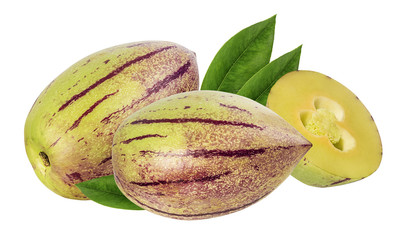 Wall Mural - Pepino melon fruit isolated on white background. Clipping Path.