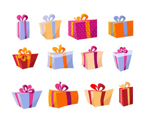 Vector set of different colorful gift boxes. Beautiful present box with overwhelming bow. Christmas gift box. Beautiful wrapped gift boxes. Vector flat volume cartoon illustration.