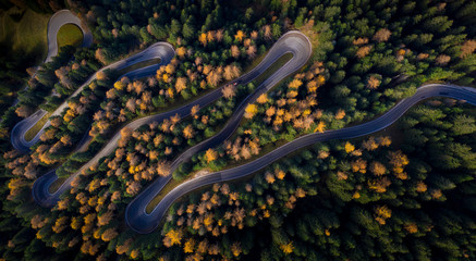 Aerial view of curvy road in autumn forest