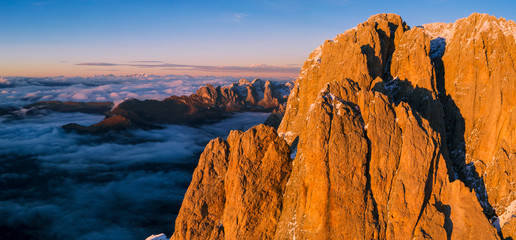Wall Mural - Beautiful Dolomites peaks panoramic view