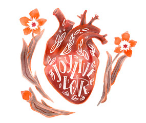 Watercolor human heart with lettering and flowers