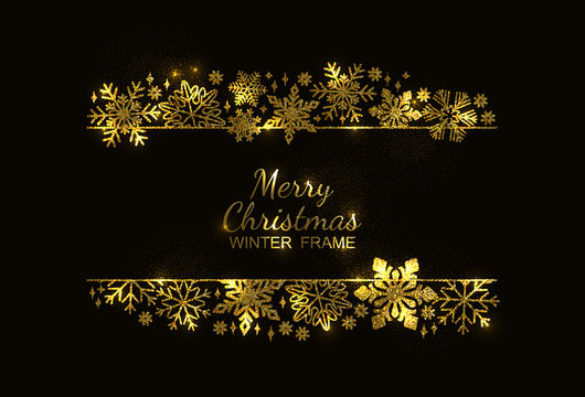 Gold glitter snowflake frame, decoration on black background, Christmas design for invitation card or postcard. Vector illustration, merry xmas snow flake framework