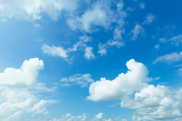Beautiful blue Sky with Clouds nature background.