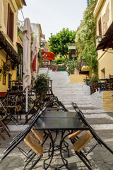 Anafiotika district, (plaka) Athens - Greece . Street of Anafiotika  in the old town of Athens. Anafiotika is district built by workers from the island Anafi.