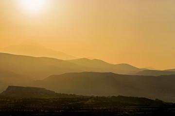 mountain range at sunrise in Cappadocia