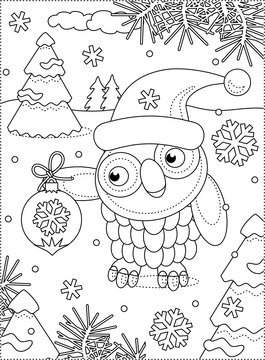 Winter holidays, New Year or Christmas joy themed coloring page with owl wearing santa cap and holding beautiful ornament
