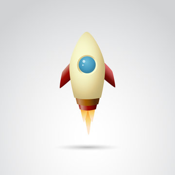 Spaceship, rocket vector icon.