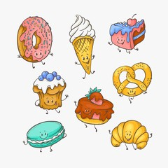 Vector illustration set of cute sweet desserts cartoon characters with funny smiling faces in sketch style - various hand drawn mascots of sweet baked pastries isolated on white background.