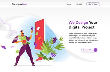 Digital startup homepage illustration template