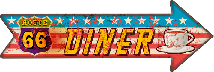 Grunge route 66 diner arrow guidepost sign, retro style, vector illustration