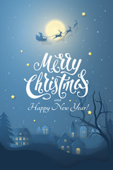 Vector winter night scene with 3D realistic paper Christmas Village. Dark festive layered background with text Merry Christmas and moon, tree, santa's sleigh, deers and snowfall for design of poster.