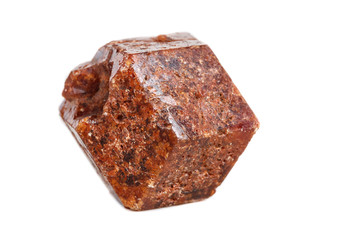 Macro mineral stone Garnet on a white background