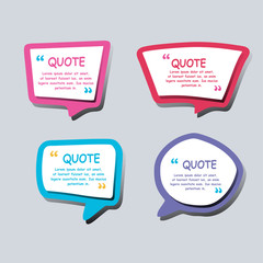 Colored text bubbles set balloons speech design vector template background.