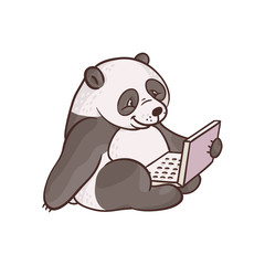 Cheerful sketch panda, bamboo bear animal sitting with laptop at knees. Cute pets characters and modern computer technologies and communication. Vector hand drawn illustration