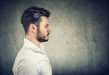 Smart handsome man in profile
