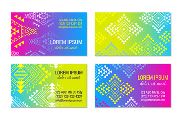 Bright colorful horizontal gradient banner visiting card design temlpate set with tribal aztec style ornament. Ethnic background collection. EPS 10 vector concept illustration. Clipping masks.