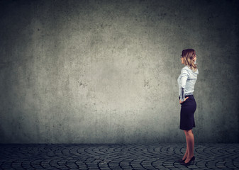 Business woman standing in front of a wall being challenged