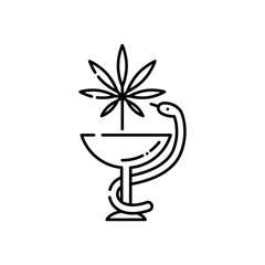 Medical marijuana line icon - thin outline symbol of snake twined around bowl with cannabis leaf isolated on white background. Vector illustration of legalization and pharmacy use of hemp.