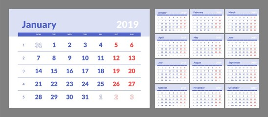 Year 2019 calendar horizontal vector design template with numbers of days of weeks. Week Starts Monday.