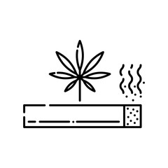 Marijuana rolled cigarette with smoke line icon isolated on white background - vector illustration of outline symbol of illegal smoking drugs abuse and cannabis joint or spliff concept.