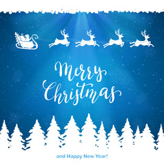 Santa and Merry Christmas on Blue Background