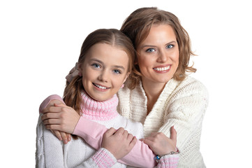 Portrait of happy mother and daughter isolated