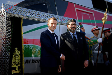French President Emmanuel Macron and Moroccan King Mohammed VI attend the inauguration of a high-speed line in Tangier