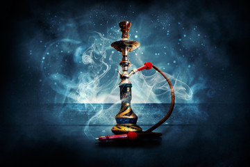 Hookah on the background of the grunge wall, neon light, rays, smoke, smog