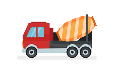 Concrete mixer truck. Equipment using in construction works. Urban transport. Flat vector icon