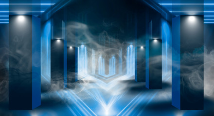 Background of an empty room with walls and concrete floor. Empty room, stairs up, elevator, smoke, smog, neon lights, lanterns