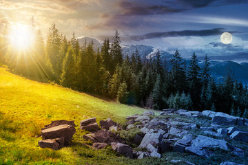 alpine summer landscape day and night time change composite. rock formation near the spruce forest on a grassy hill.  mountain with snowy top in the distance. springtime meets summer concept