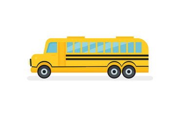 Yellow school bus with black stripes. Passenger motor vehicle. Urban transport. Flat vector icon