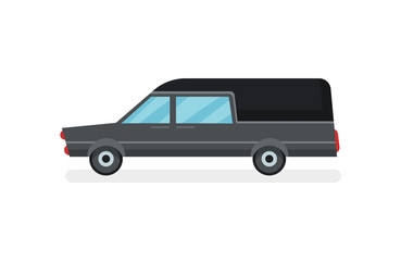 Flat vector icon of black hearse. Funeral service car. Urban transport. Modern motor vehicle