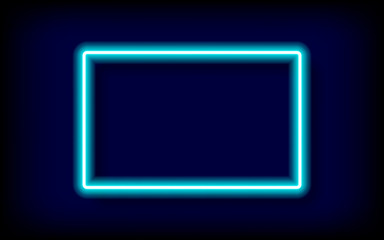 rectangle blue neon tube frame with shadow,vector illustration.