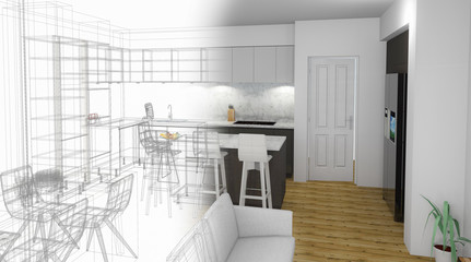 Bespoke Kitchen Design Drawing and Brushed In Photo Combination.
